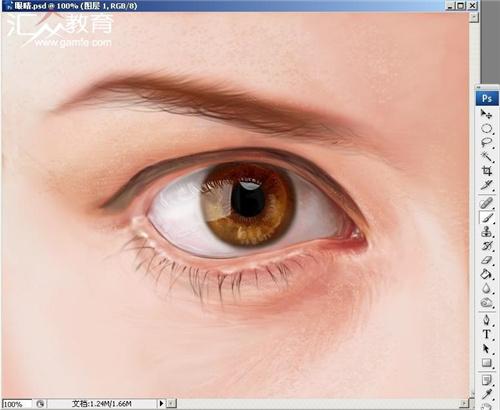 手绘板photoshop入门教程:眼睛的画法
