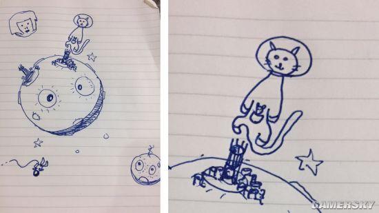 2k的John Pelling在月球上方画了一只穿着太空服的猫咪.jpg