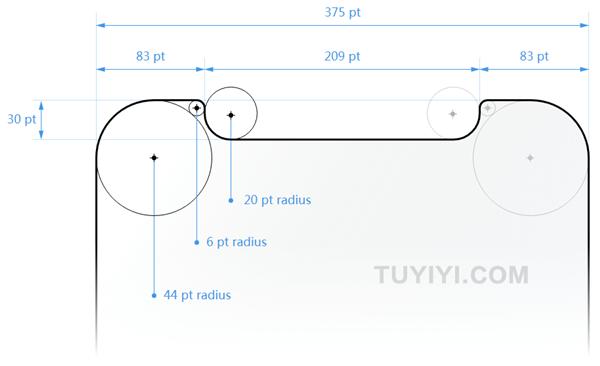 在设计iPhone X的界面时,您必须确保布局填满屏幕,并且不会被设备的圆角,传感器外壳或被主屏幕的指示灯遮蔽。.png