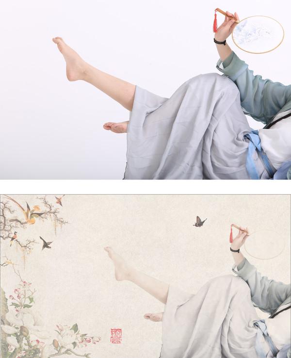 ps教程:古风工笔画人像风格修图步骤